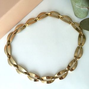 VTG 80s Monet Heavy Chain Choker Necklace Gold